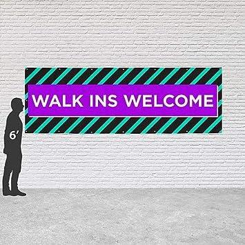 Modern Block Heavy-Duty Outdoor Vinyl Banner CGSignLab Walk Ins Welcome 12x4