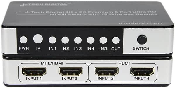 J-Tech Digital JTD4KSP0501 Premium Quality 5 Ports 4K x 2K HDMI 5x1 Powered Switch with IR Wireless Remote and Power Adapter