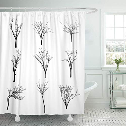 Semtomn Shower Curtain Halloween Branch Black Silhouette of Bare Tree Shadow Winter Shower Curtains Sets with 12 Hooks 72 x 78 Inches Waterproof Polyester Fabric -