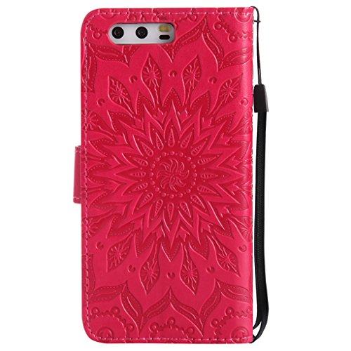 Trumpshop Smartphone Carcasa Funda Protección para Huawei P10 Lite [Marrón] 3D Mandala PU Cuero Caja Protector Billetera Choque Absorción Rojo