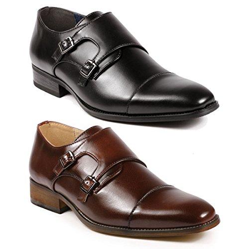 UV Signature UV010 Men's Double Monk Strap Cap Toe Slip On Loafers Dress Shoes