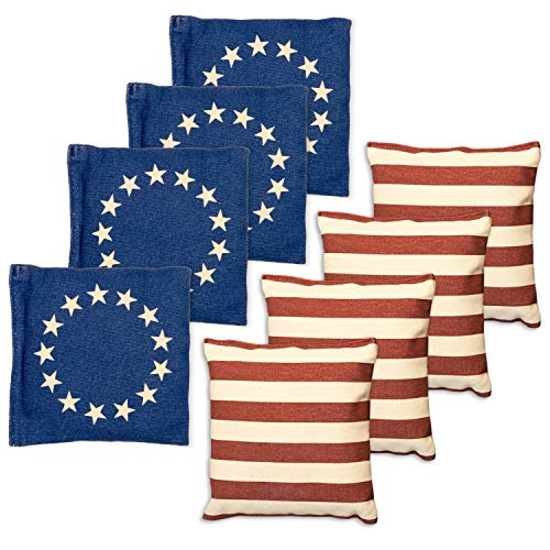 Weather Resistant Cornhole Bean Bags Set of 8 - Regulation Size & Weight - Betsy Ross Vintage American Flag Corn Hole Bags