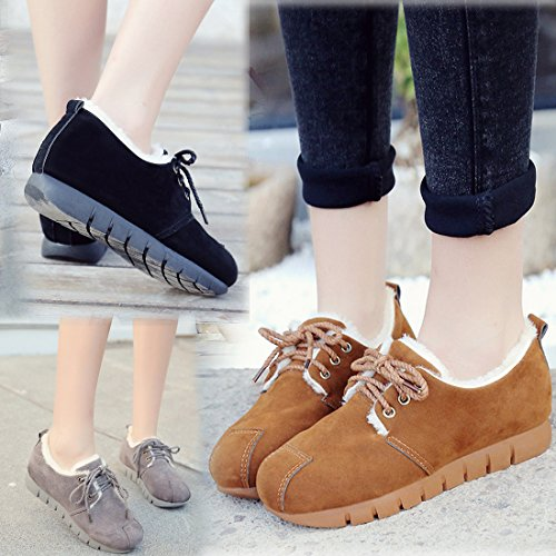 Fur Outdoor Snow Lined Black Women Uniform Slip On Gaorui Ankle Student Booties Shoes Boots Winter Shoes Snow tSIPPqYx