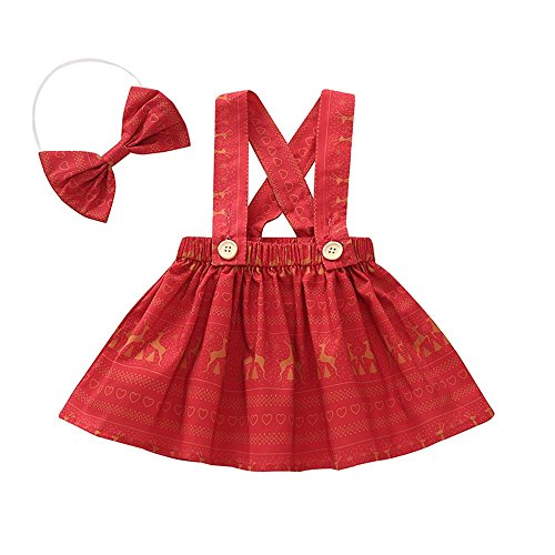 d03e8f5ad4a Girls Strap Dress Baby 2PC Fashion Summer Lovely Baby Fawn Printing Red  Belt Skirt Headband Sets Size for 6Months to 3 Years