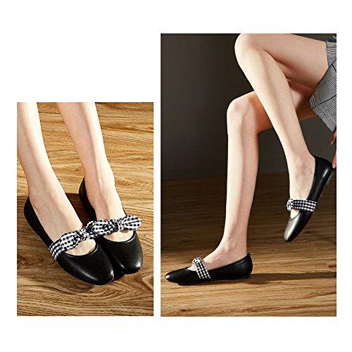 YQQ Zapatos De Primavera Verano Sandalias Femeninas Zapatos Planos Mariposa Nudo Boca Poco Profunda Zapatos De Mujer Salvaje Cómodo Literatura Y Arte (Color : Negro, Tamaño : EU36/Uk3.5) Negro