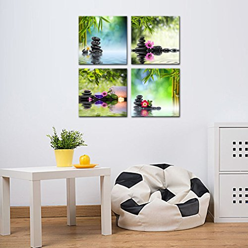 4 Panels Wall Art Canvas Prints Stones Flowers and Bamboo on Water SPA Still Life Modern Artwork Stretched and Framed for Home Living Room Decoration (30cmx30cmx4pcs) by MOCO ART (Image #1)