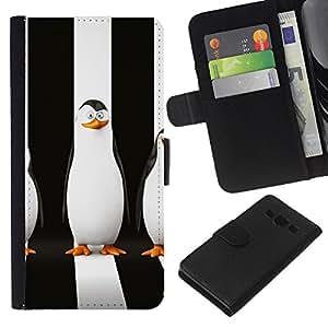 KLONGSHOP // Tirón de la caja Cartera de cuero con ranuras para tarjetas - Sly pingüino - Samsung Galaxy A3 //