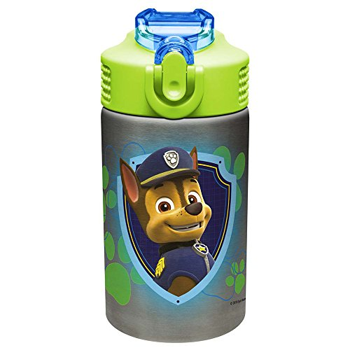 (Zak Designs Paw Patrol 15.5oz Stainless Steel Kids Water Bottle with Flip-up Straw Spout - BPA Free Durable Design, Paw Patrol Boy SS)