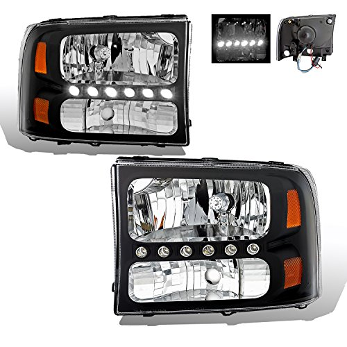 SPPC Black Crystal Headlights 1pc Assembly Set For Ford Excursion / Super Duty - (Pair) Driver Left and Passenger Right Side Replacement Headlamp - Excursion Crystal