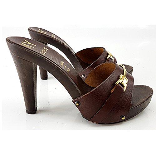 SABOT 42 kiara CUIR shoes MY315 MARRONE FEMME a5wqSBg7q