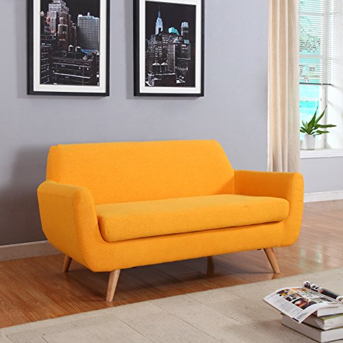 Mid Century Colorful Linen Fabric Sofa, Loveseat in Colors Yellow, Purple, Red, Blue (Yellow, Loveseat)