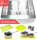 Ariel 30 Inch Zero Radius Design 16 Gauge Single Bowl Stainless Steel Curve Farmhouse Apron Kitchen Sink Premium Package