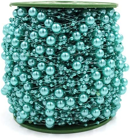 200 Feet Teal Blue Pearls String Beads Garland Fishing Line Artificial Pearls Strands Beads Trim Chain for Wedding Bridal Bouquet Craft DIY Table Centerpieces Christmas Tree Party Decorati Teal Blue