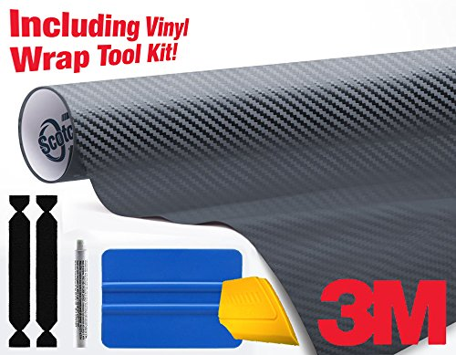 3M 1080 Carbon Fibre Anthracite Air-Release Vinyl Wrap Roll Including Toolkit (4ft x 5ft) 4' Tip Carbon Fiber