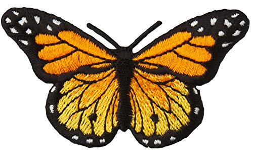 Simplicity Orange Monarch Butterfly Applique Clothing Iron On Patch, 3