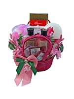 Tranquil Delights Spa Bath and Body Gift Basket Set with Tea and Cookies (Peony)