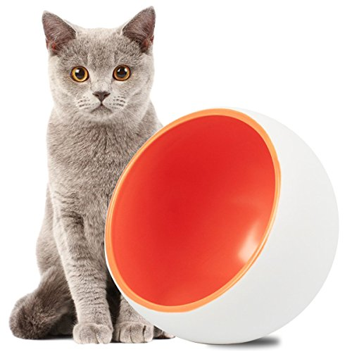 Cat Bowl,DOTPET Ceramic Dry Food Bowl Cat Feeder Cat Bowl Kitten Dish Arc Shape Perfect for Cats Small Dogs Random - Faces Flat With Shapes