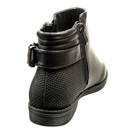 Angkorly - damen Schuhe Stiefeletten - Schlangenhaut - Schleife Blockabsatz 2 CM Schwarz