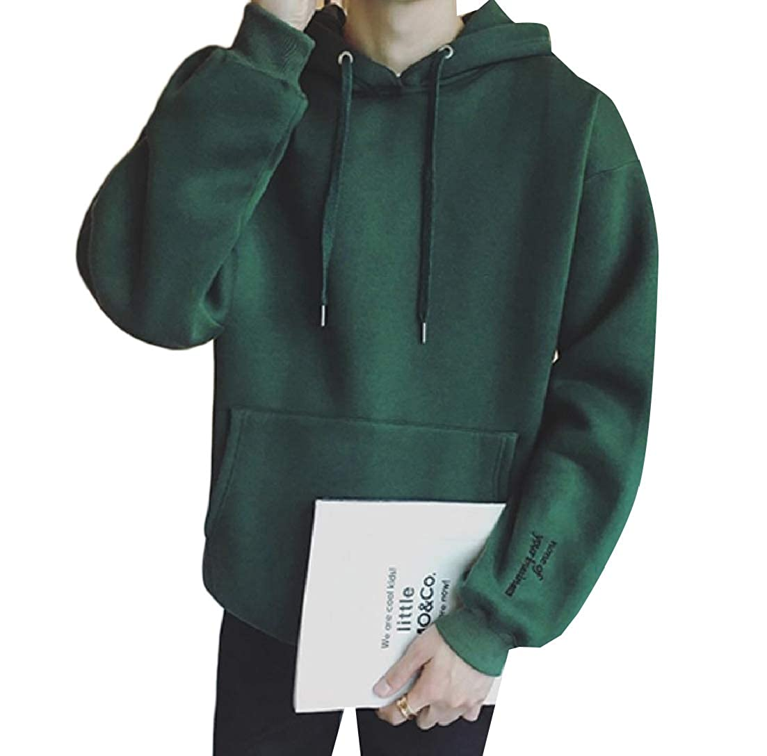AngelSpace Men Embroidery Thickened Pockets Hooded Fleece Pullover Sweatshirt
