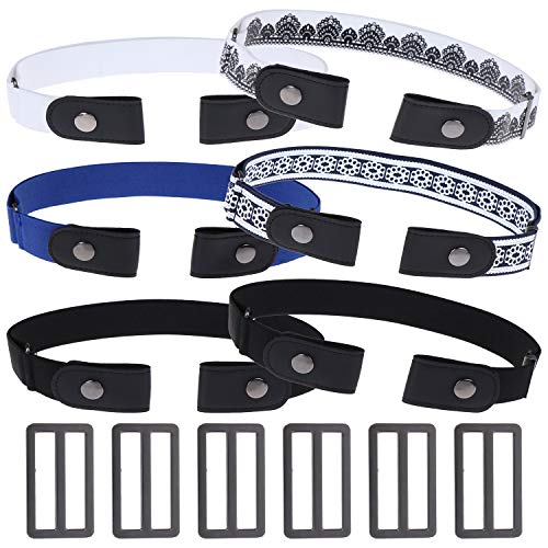 6 Pieces No Buckle Belt Elastic Adjustable Belt with 6 Extra Buckles for Pants