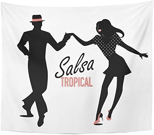 Amazon Com Emvency Tapestry Cuba White Dance Silhouette Of Couple Dancing Latin Music Dancer Latino Cuban Home Decor Wall Hanging For Living Room Bedroom Dorm 50x60 Inches Home Kitchen