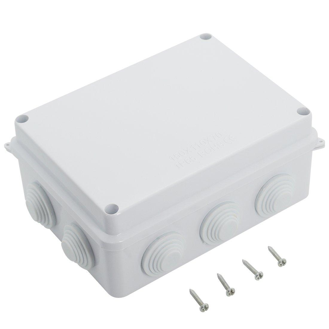 "LeMotech ABS Plastic Dustproof Waterproof IP65 Junction Box Universal Electrical Project Enclosure White 5.9"" x 4.3"" x 2.8""(150mmx110mmx70mm)"