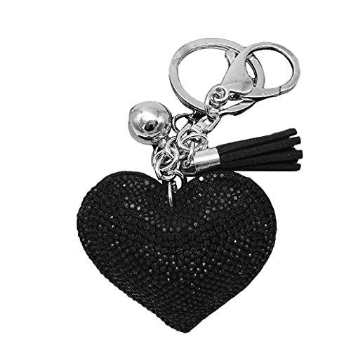Heart Key Charm - HEART SPEAKER Romantic Dazzling Rhinestone Love Heart Charm Pendant Fringe Keychain Keyring (Black)