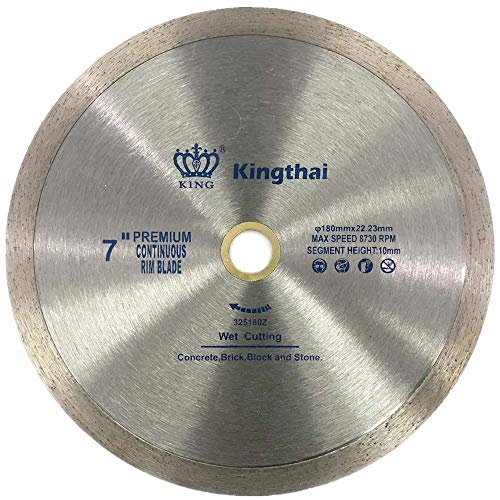 Kingthai 7 Inch Continuous Rim Diamond Saw Blade for Cutting Porcelain Tiles Ceramic,Wet Cutting,7/8