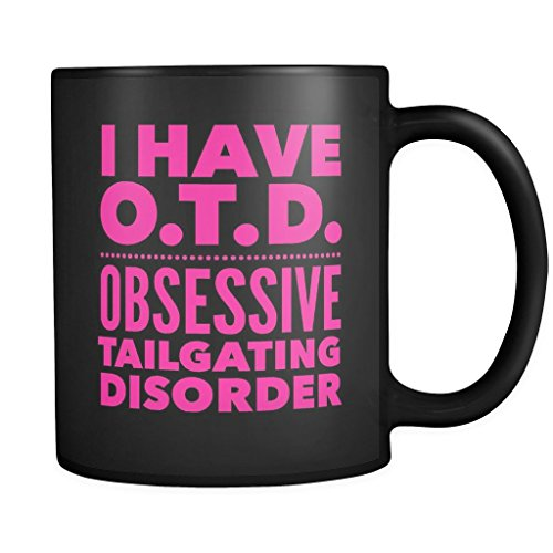 ArtsyMod OTD OBSESSIVE TAILGATING DISORDER Typography Premium Coffee Mug, PERFECT FUN GIFT for the Sports, Football, Tailgating Lover! Attractive Durable Black Ceramic Mug (Pink Print)