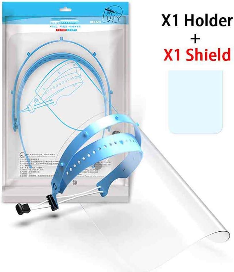 RISF Seguridad Reutilizable Transparente Ajustable Anti-Saliva Anti-Aceite Splash Face Shield, Doble Cara Anti-vaho Evite el Aceite de Cocina Protector Facial Protector