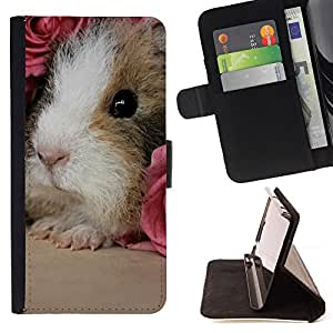 DEVIL CASE - FOR Sony Xperia Z1 L39 - Hamster Guinea Pig Rodent Pink Roses Cute - Style PU Leather Case Wallet Flip Stand Flap Closure Cover