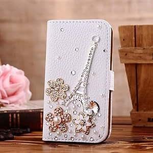 HC-Diamante de la aleación torre de hierro pétalo cuero de la PU caso de cuerpo completo con soporte y tarjeta de la ranura para el iphone 5 / 5s