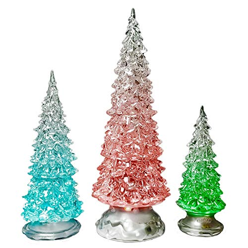 BANBERRY DESIGNS LED Lighted Acrylic Christmas Trees Holiday Decoration Set of 3 Assorted Sizes 10