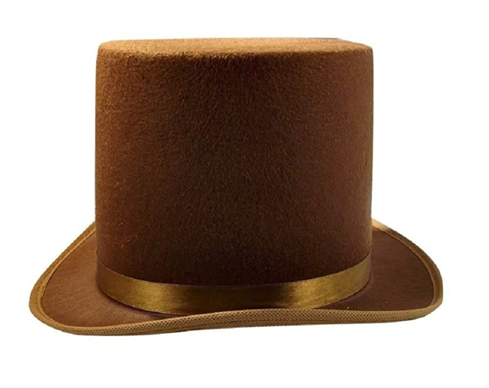 de9e2f4b13eac Amazon.com  Tall Brown Willy Wonka Dickens Caroler Steampunk Coachman Top  Hat Topper Costume- Sold by Things for Everyone 1011!  Clothing