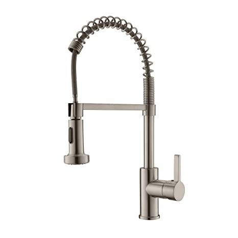 APPASO Commercial Kitchen Faucet with Pull Down Sprayer Stainless Steel  Brushed Nickel - Spring High Arc Tall Modern Single Handle Kitchen Sink  Faucet ...