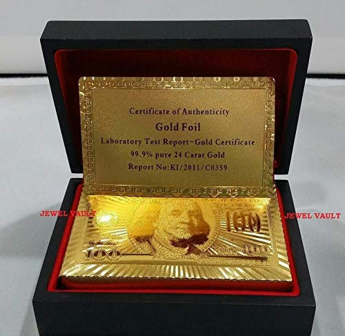 24K Gold Playing Cards Poker Plated w/ Mahogany Box & Certificate of Authenticity from Julias Boutique