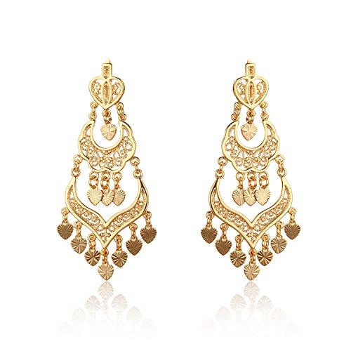 Paonaile 18K Gold Plated Chandelier Filigreework Love Heart Charms Drop Dangle Earrings 2.76
