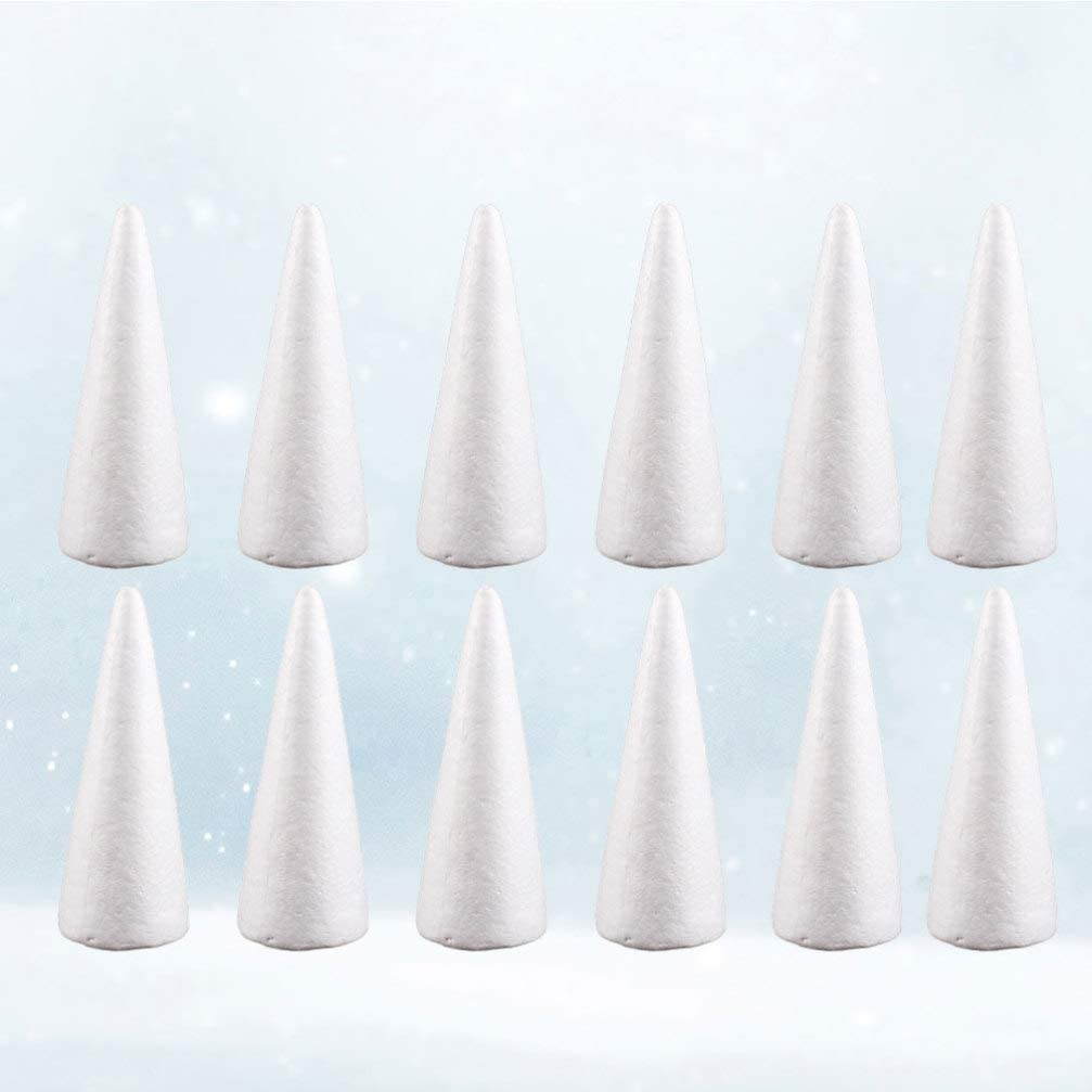 Amosfun 12pcs Craft Foam Cone Shaped Foam for DIY Craft Christmas Tree Table Centerpiece Decoration 10cm
