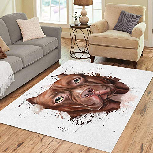 Semtomn Area Rug 2' X 3' Animal Collection Dog Portrait of Pitbull Closeup on Squirt Home Decor Collection Floor Rugs Carpet for Living Room Bedroom Dining -