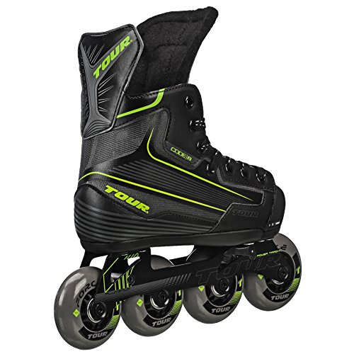 Tour Hockey Code 9 Youth Adjustable Inline Hockey Skate, Black, Medium 1-4