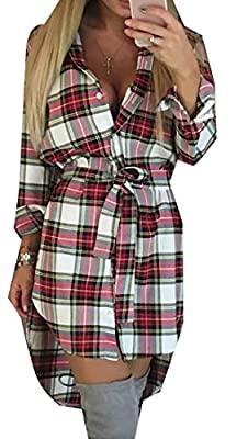 KXP Womens Casual Curved Hem Plaid Belt Button Down Shirts Dress