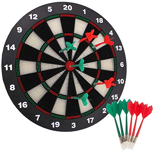 Huvai 16.4 Inch Safety Dart Board Safety Dart Set with 6 Soft Tip Darts for Children and Adults, Office and Family Time ,Black, Red, White