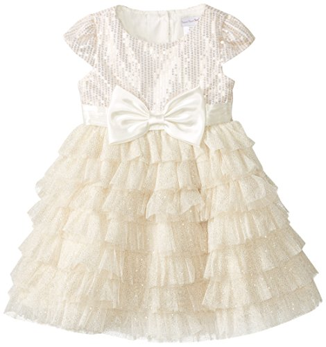 Sweetheart Rose Little Girls' Sequin Bodice with Glitter Mesh Occasion Dress, Ivory, 6