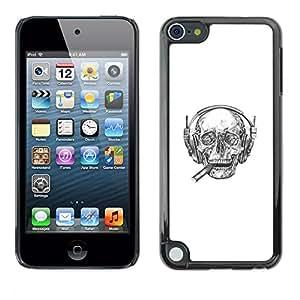 LECELL--Funda protectora / Cubierta / Piel For Apple iPod Touch 5 -- Cigarro jefe cráneo --