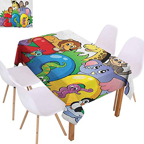 Elegance Engineered Tablecloth Zoo Zoo Sign with Various Animals Mascot Cartoon Characters Cute Playful Kids Room Print Soft and Smooth Surface W52 xL72 Multicolor -