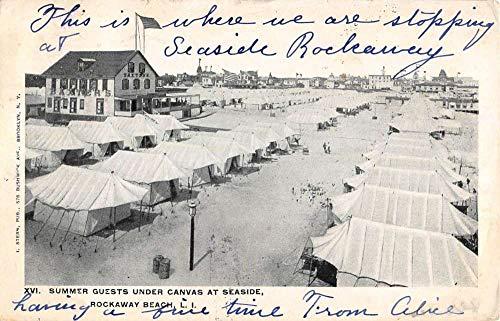(Rockaway Beach New York Summer Guests Under Canvas Antique Postcard K431912)