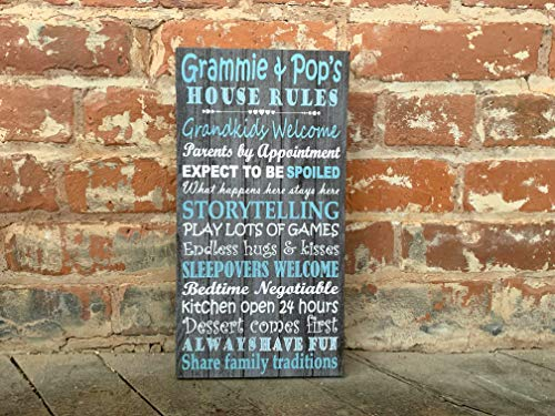 Custom Grandparents Sign, Personalized Canvas, Grandparent Names/Nicknames Of Choice, Grandparents House Rules, Perfect Mother's Day Gift