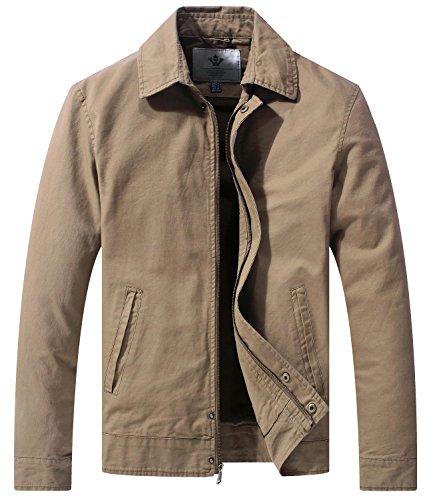 WenVen Men's Casual Long Sleeve Full Zip Jacket with Pockets(Khaki,X-Large)