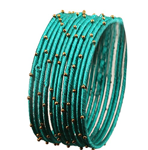 Touchstone New Silk Thread Bangle Collection Indian Bollywood Handcrafted Faux Silk Thread Exotic Look Golden Beads Aqua Blue Designer Bangle Bracelets Set of 12 for Women.