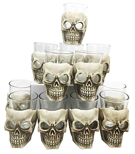 Ebros Grinning Skull Shot Glass Set of 12 Altar of Skulls Skeleton Ossuary Skull Shooter Decor